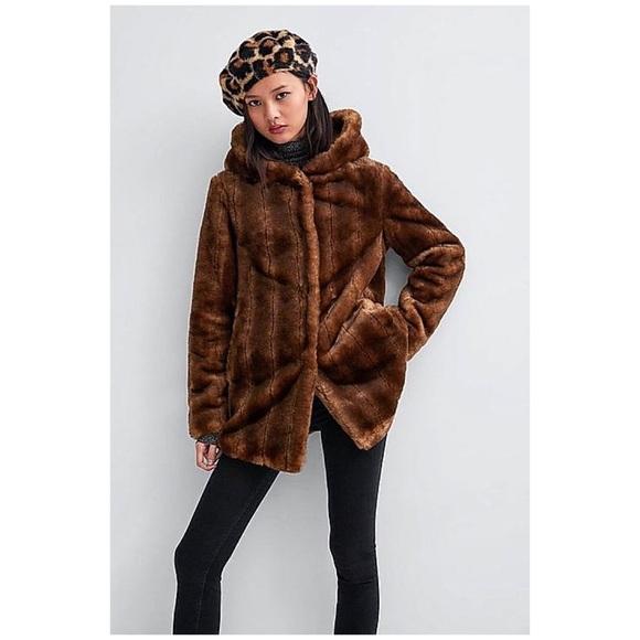 Zara Hooded Faux Fur Coat